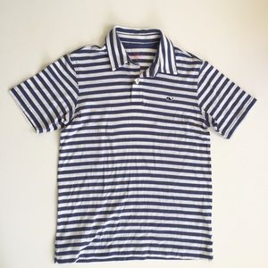 Vineyard Vines Blue & White Striped Polo Shirt M